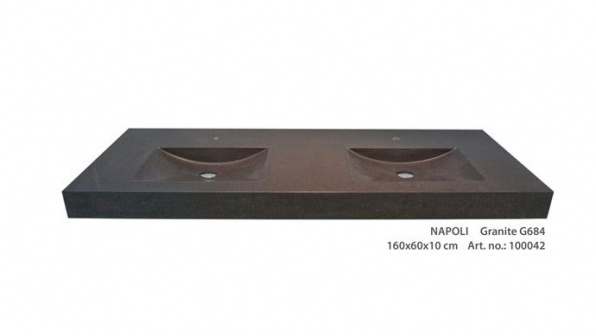 Forzalaqua Napoli wastafel Rechthoek 160x60x10 Graniet type G684 ...
