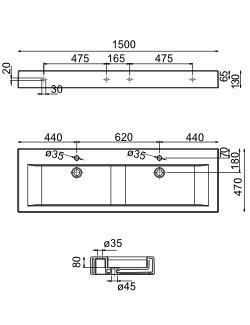 Sanistar keramische wastafel S100-210 150 1500 x 475 x 130 mm ...