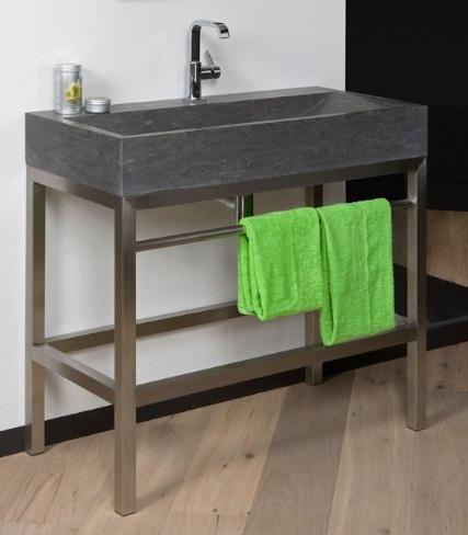 Sanistar rvs 1000 hardstenen wasbak op rvs frame for Spiegel 70x60