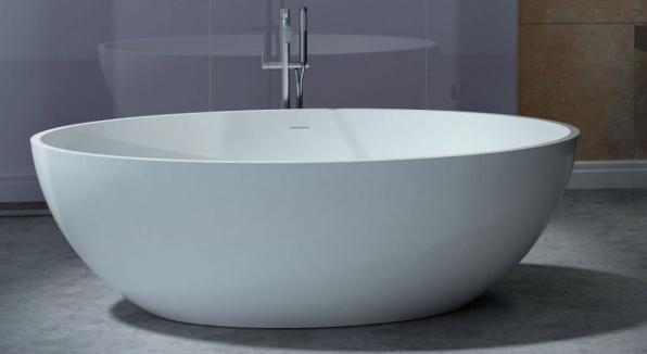 Masssief vrijstaand bad Globe 180x85x52cm mat wit
