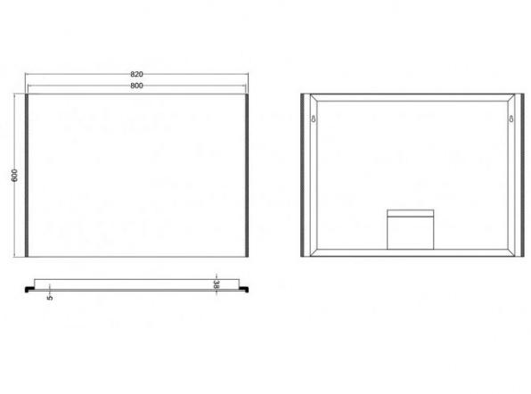 Wb duo led condensvrije spiegel 80x60 for Spiegel 80x60
