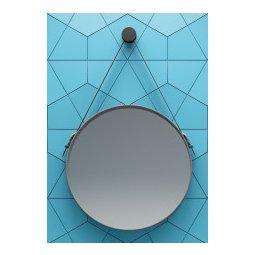 Swiss Vince 50cm spiegel zwart frame en leren band