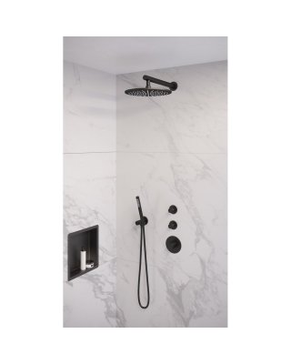 Brauer Black thermostatische inbouwdoucheset 20cm hoofddouche wandarm staafhanddouche mat zwart