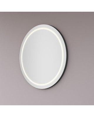 Maatwerk spiegel rond met LED baan rondom en mat zwart, black edition