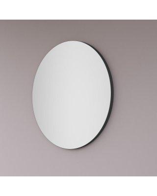 Maatwerk spiegel rond in mat zwart op aluminiu achter-frame