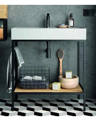 Swiss Vince staand badkamermeubel 80cm inclusief wastafel, mat zwart frame