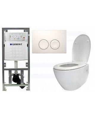Sanistar Sall toiletset met Geberit inbouwreservoir & witte drukplaat