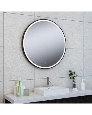 Wiesbaden Maro ronde spiegel met LED verlichting mat zwart