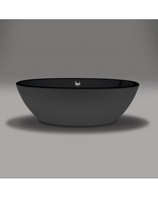 Xenz Britt Vrijstaand bad 170x85x60cm met poten met afvoer -Hoogglans zwart